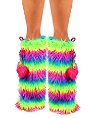 iHeartRaves Neon Rainbow Fluffy Leg W…