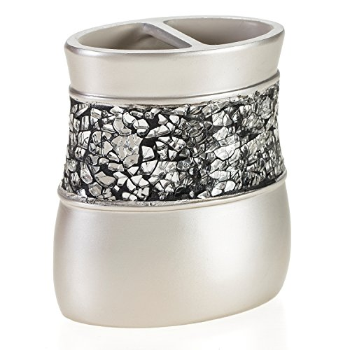 Creative scents brushed nickel bathroom accessories set 4 for Silver crackle glass bathroom accessories