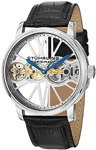 Stuhrling Original Men's 527.33152 Classic Winchester Bridge Mechanical Skeleton Stainless Steel Black Leather Strap Watch