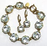 Catherine Popesco 14k Gold Plated Ice (pale blue) Swarovski Crystals Bracelet and Earrings Jewelry Set