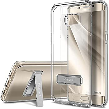 OBLIQ [Naked Shield][Clear] - with Kickstand Thin Slim Fit TPU Bumper Hard Hybrid Shock Resist Protective Crystal Clear Case for Galaxy S6 Edge+