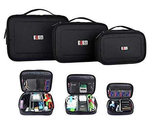 BUMB 3点セット収納ポーチバッグ 小物 旅行用 トラベル 整理メッシュケース ポケット クラッチ式 SDカード&トラベルアクセサリ&ガジェット&デジタル小物等収納可能バッグ(ブラック)