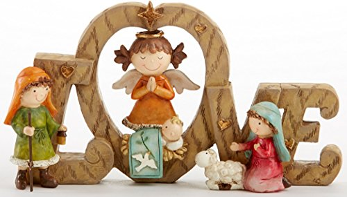 LOVE Nativity 4.3 Inch Resin Children As Christmas Story Pageant Characters