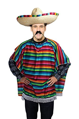 Adult Mexican Colourful Poncho Stag Hen Halloween Costume Fancy Dress Outfit