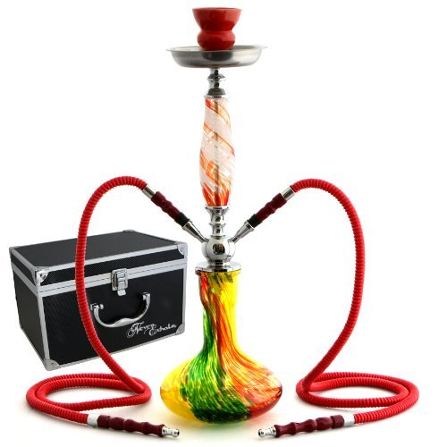 GSTAR-22-2-Hose-Hookah-Complete-Set-with-Optional-Carrying-Case-Swirl-Art-Glass-Vase