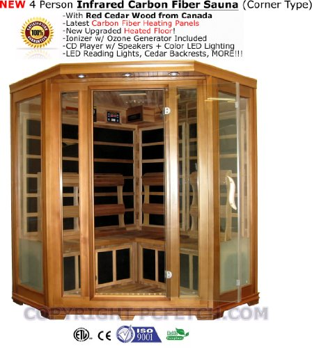 4 Person Red Cedar FIR Far Infrared Carbon Fiber Sauna Spa - Corner Type