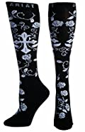 Ariat Socks Womens Western Cross Roses Knee High Black A10009397