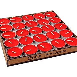 Set of 50 Tealight Candles (Red)