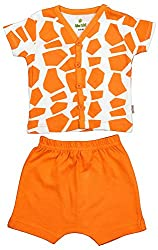 BIO KID Clothing Set for Baby (BB1I-T181-68_3-6 Months, 3-6 Months, Off White/ Brown)