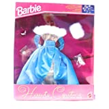 Barbie Haute Couture Straight Pink And Turquoise Stripe Gown With Full Turquoise Satin Overlay Skirt