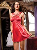 Red Sexy Mini Dress Microfiber A-Line Matching Thong Strappy Gems Dress Evening