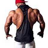 YiZYiF Men's Hooded Gym Tank Tops Bodybuilding Stringer Muscle Workout Shirts Black Small