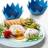 Silicone Egg Poachers (Set of 2) Non Stick Egg Poacher Cups For Perfect Poached Eggs...Blue
