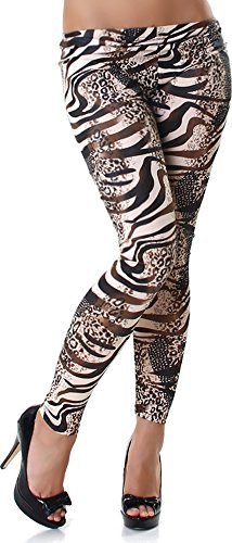 Veryzen Damen Wet-Look Leggins Leggings Leo Leopard Größen 32,34,36,38