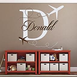 Name Wall Decals Monogram Plane Airplane Decal Boy Kids Nursery Bedroom Decor Art Vinyl Sticker Removable MA73 (22\'\'Tallx23\'\'Wide)
