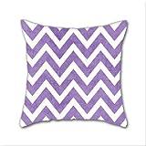 Cotton Linen Throw Pillow, Decorative Pillows.? Purple Chevron Cotton Linen Square Decorative Throw Pillow Case Cushion Cover 18 x 18 Inch