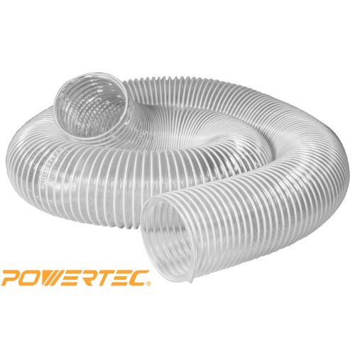 POWERTEC 70143  4-Inch x 20-Feet Flexible PVC Dust Collection Hose, Clear Color