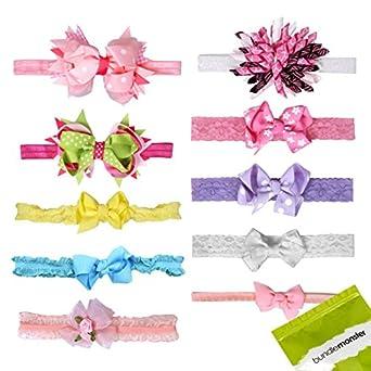 Bundle Monster 10 pc Baby Girls Assorted Design Soft Bow Ribbon Elastic Lace Hair Band Headbands - Set 1: Sweet Sensation
