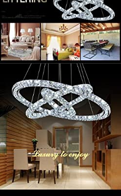 O9-TECH Crystal Rings on Three Sides Modern Simple Stylish K9 Crystal Chandelier Ceiling Light Fixture Living Room LED Lighting Three Ring Random Variation