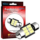 Yorkim 31mm LED Bulbs White Super Bright LED Interior Car Lights Error Free CANBUS 6-SMD 5730 Chipsets, 3175 Festoon LED Bulbs, DE 3175 LED Dome Lights, De3021 LED Bulbs, De3175 LED Bulbs - Pack of 4