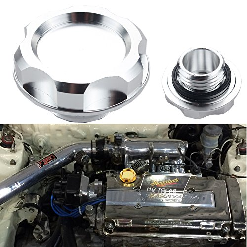 Dewhel Billet Engine Oil Fuel Filler Tank Cap Cover For Honda Acura Civic TL Color Silver (Fuel Tank Filter Base compare prices)