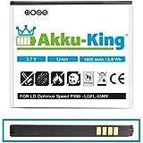 Akku-King Li-Ion Batterie pour LG P990 Optimus Speed, P920 Optimus 3D P920H P925 P929 C729 - remplace LGFL-53HN, SBPL0103001 - 1600mAh