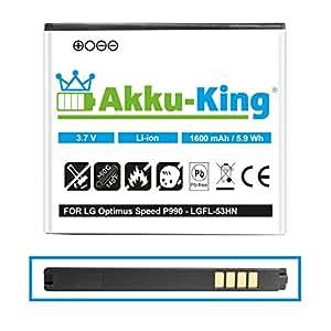 Akku-King Akku für LG Optimus Speed P990, Optimus 3D P920, P920H, P925, P929, C729 - ersetzt FL-53HN, SBPL0103001 - Li-Ion 1600mAh