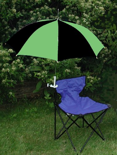 Lime Green/Black Clamp On Chair Umbrella for Aluminum or Canvas Folding Chairs - Great for Car Shows, Softball and Soccer Games, Vacations, Patio, Deck
