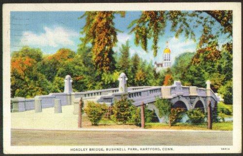 Hoadley Bridge Bushnell Park Hartford Ct Postcard 1936