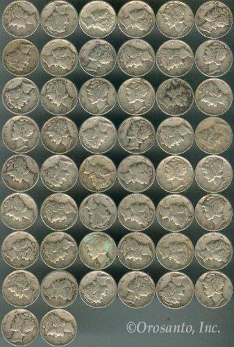 $5 (50ct) Roll 90% Silver Coin - (Mercury Dimes)