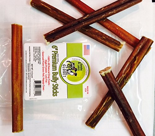 6 bully sticks for dogs made in usa trial size 6 pk grass fed beef pizzles no antibiotics no. Black Bedroom Furniture Sets. Home Design Ideas