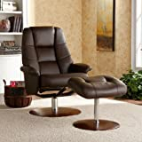 Adjustable Brown Bonded Leather Recliner and Ottoman , Office Chair