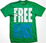 FREE HUGS Mens T-shirt, Big and Bold Funny Statements Tee Shirt, Large, Kelly