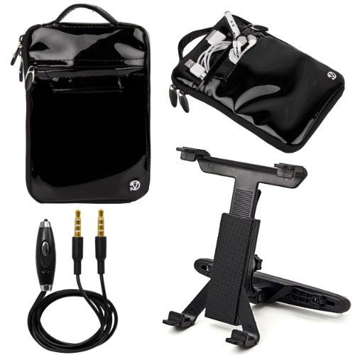 """(Black) VanGoddy Hydei Patent Leather Bag Case for RCA / SVP 7"""" Tablet + Headrest Post Mount + Auxiliary Cable at Electronic-Readers.com"""