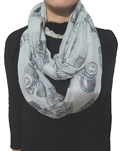 Lina & Lily Vintage Camera Print Loop Infinity Scarf for Women Lightweight (Grey)