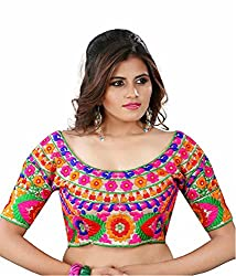 Puffin fashion Multi Color Fabric Silk Embroidered Readymade Designer Fancy Blouse