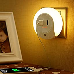 JUNCHI LED Night Light with Dusk to Dawn Sensor and Dual USB Wall Plate Charger (Dual USB)