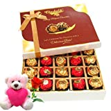 The Gift Of Elegance Gift Box With Teddy And Rose - Chocholik Belgium Chocolates