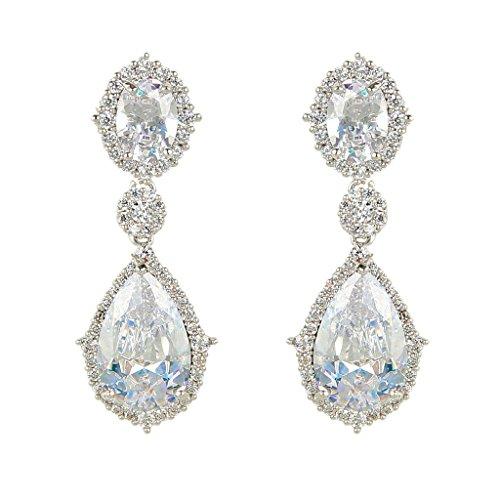 EVER-FAITH-Silver-Tone-Full-Cubic-Zirconia-Flower-Tear-Drop-Pierced-Dangle-Earrings