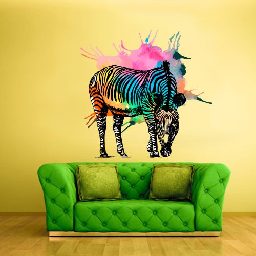Full Color Wall Vinyl Sticker Decals Decor Art Bedroom Design Mural Horse Zebra Poster Animal Water Paint (Col403) front-1014604
