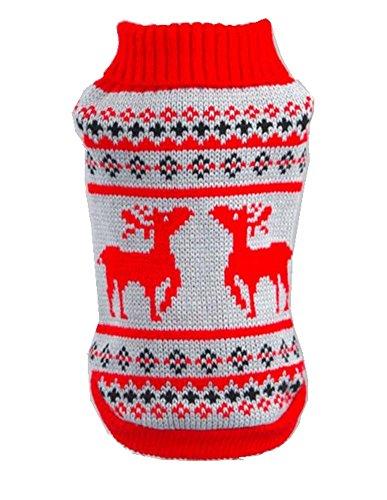 TANG imp Cucciolo Cane Teddy Natale Cervo Maglia Maglione Vestiti Pet Cane Caldo Sweater Cappotto Felpe Costume Rosso XL