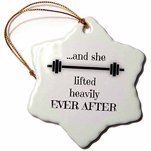 BrooklynMeme Fitness - And she lifted heavily ever after - 3 inch Snowflake Porcelain Ornament (orn_252212_1)