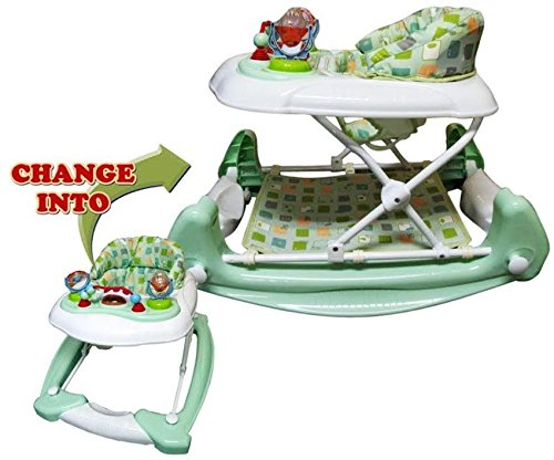 Big Oshi 2 In 1 Baby Activity Walker And Rocker, Light Green/White - 1