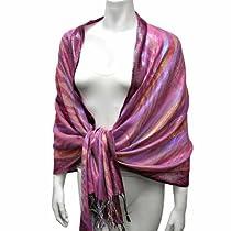 Luxury Divas Metallic Pink Zebra Long Shawl Wrap Pashmina