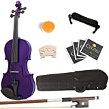 Mendini 4/4 MV-Purple Solid Wood Purple Violin + Hard Case, Shoulder Rest, Bow, Rosin and Extra Strings (Full Size)