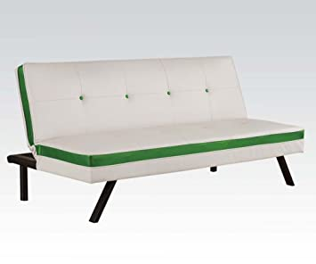 Acme 57104 Modern White & Green PU Sleeper Sofa