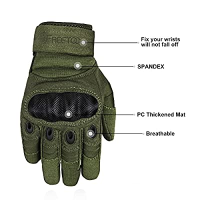 Freetoo Men's Hard Knuckle Full Finger Military Gear Tactical Gloves
