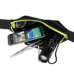 PackNBUY Black Expandable Running Hiking Waist Bag with YELLOW Zipper holds mobile iphone accessories keys