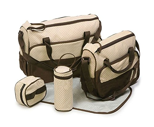 Shot-In 5Pcs Baby Changing Diaper Nappy Bag Mummy Mother Handbag Multifunctional Set (Coffee) front-1047324