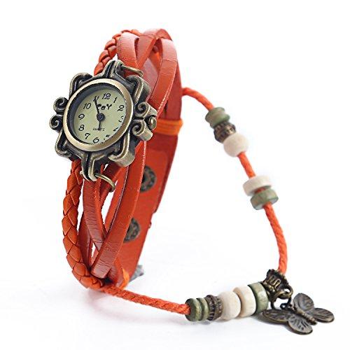 Dayan Butterfly Charm Women Ladies Weave Wrap Around Leather Belt Bracelet Watch Orange